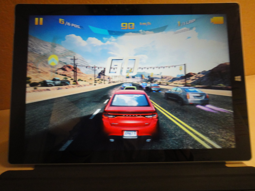 Asphalt 8 is great fun and shows the Surface can handle basic 3D gaming