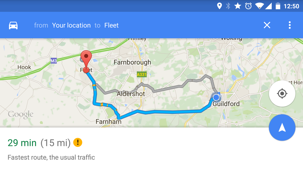 Google letting you choose the best route
