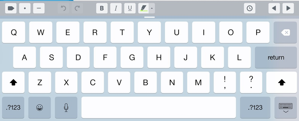 The iPad's touch-screen keyboard gets a handy extended row when taking notes with Daily Notes