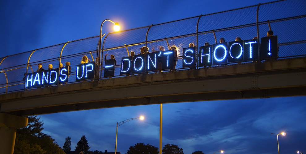 "Protestors in St. Louis. ""Hands Up - Don't Shoot!"" is a common refrain."