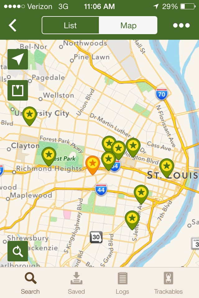 Map, within the Geocaching mobile application, showing all ten caches placed by the class.