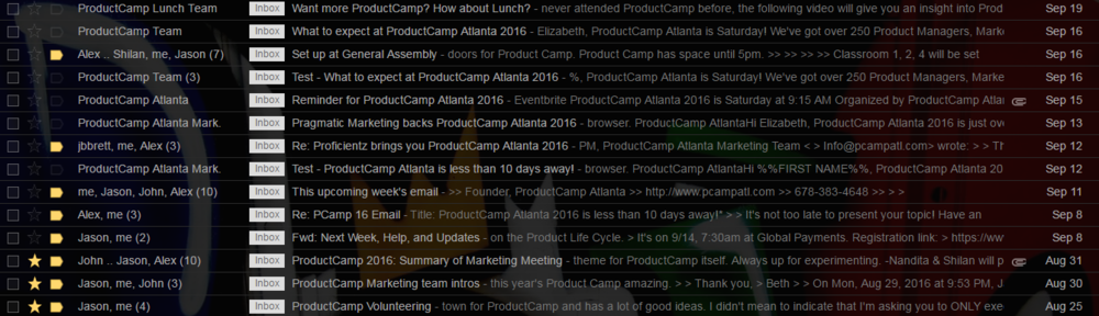 Just a little taste on my inbox . . .filtered on ProductCamp