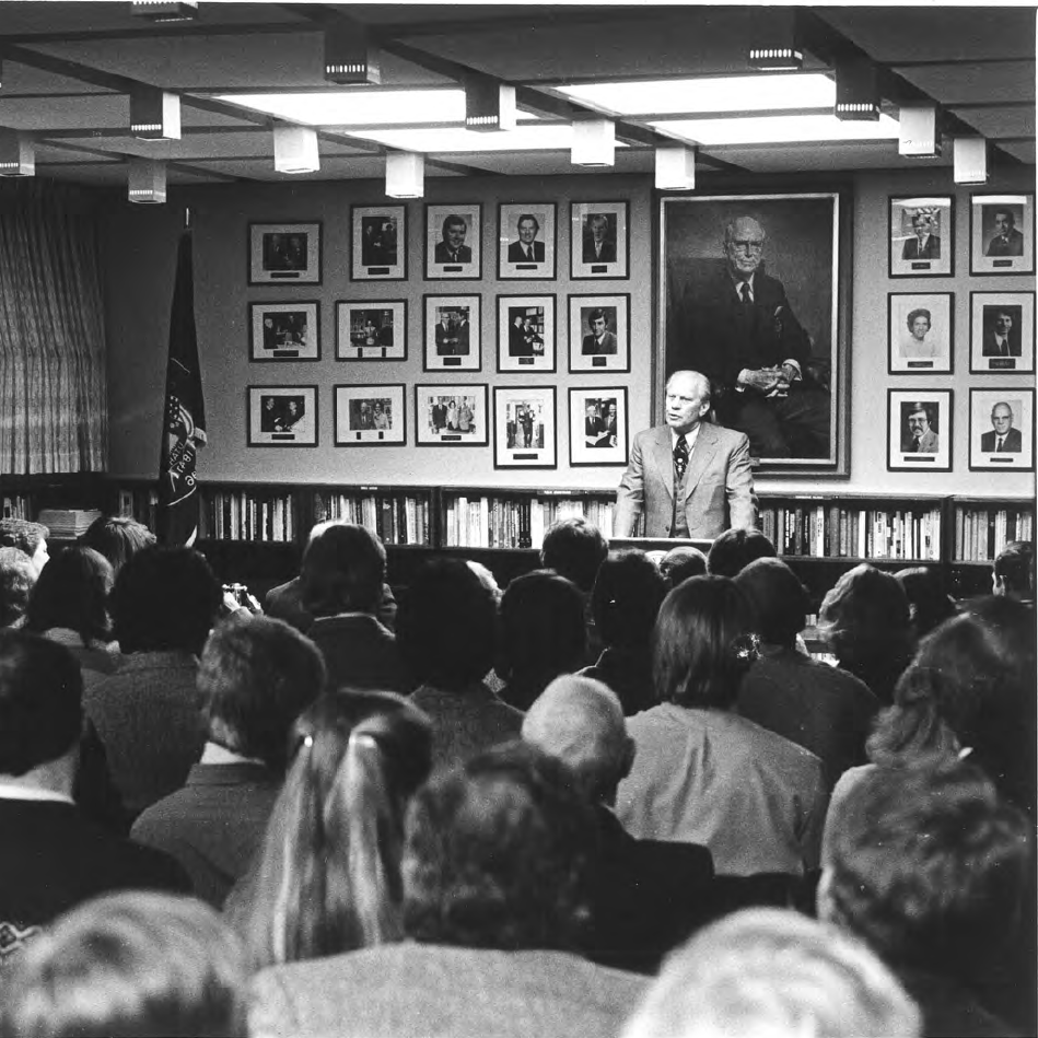 President Ford speaks in Hinckley Caucus Room (1982)