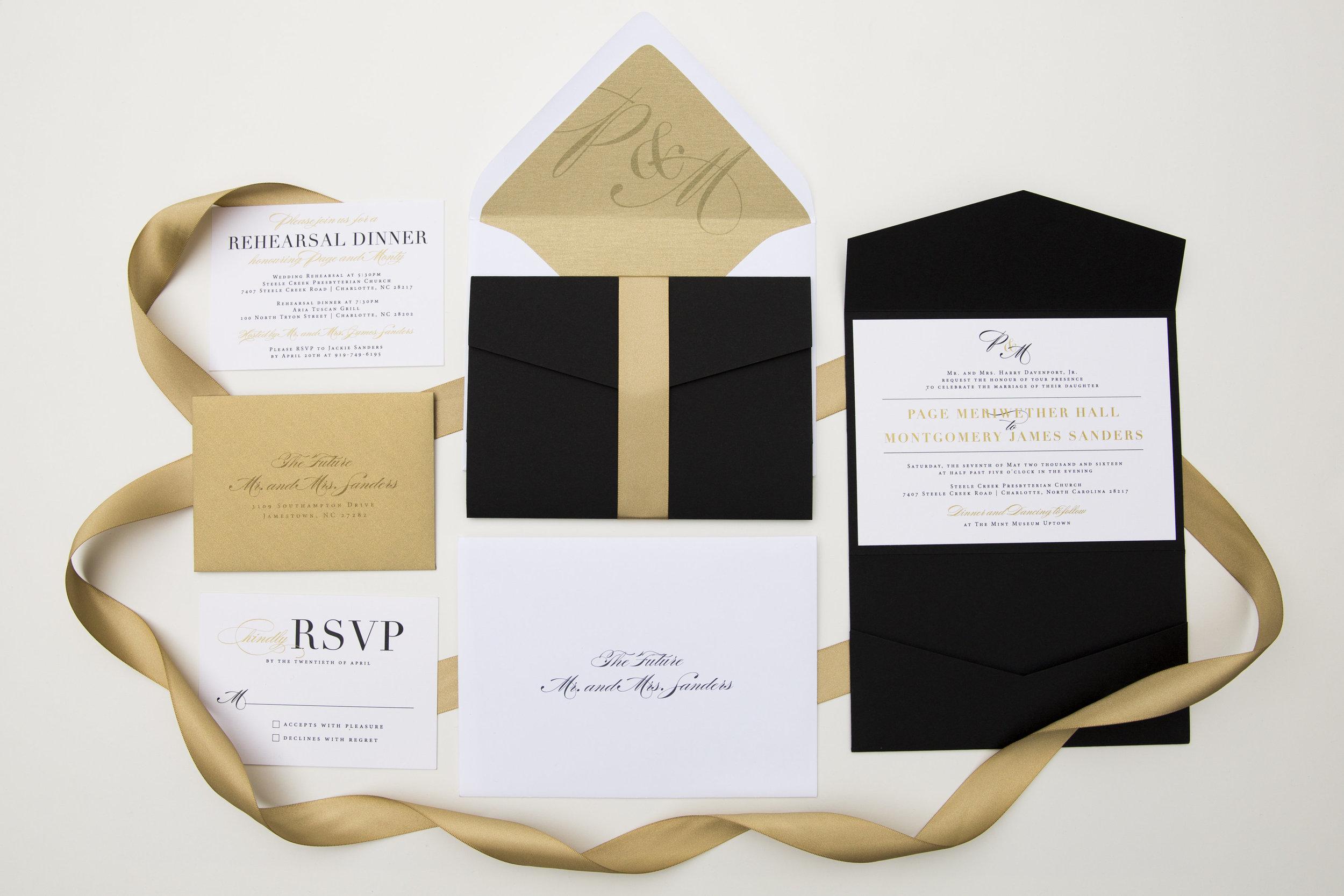 Gold + Black Elegant Script Wedding Invitations — AMG Design Co.