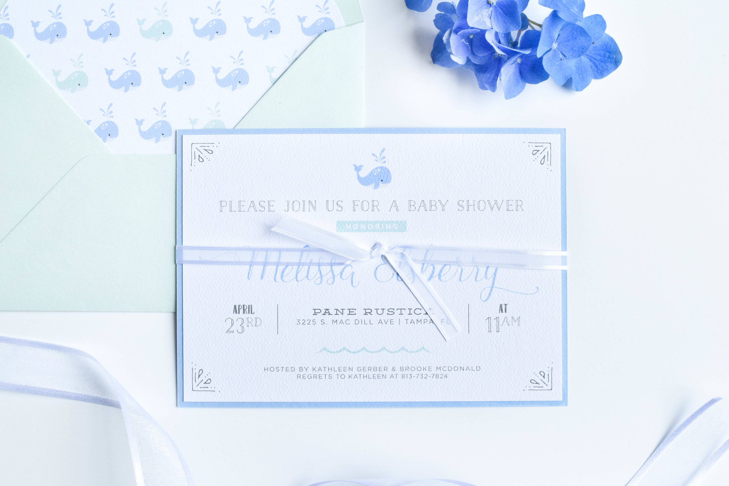 Whale Baby Shower Invitations — AMG Design Co.
