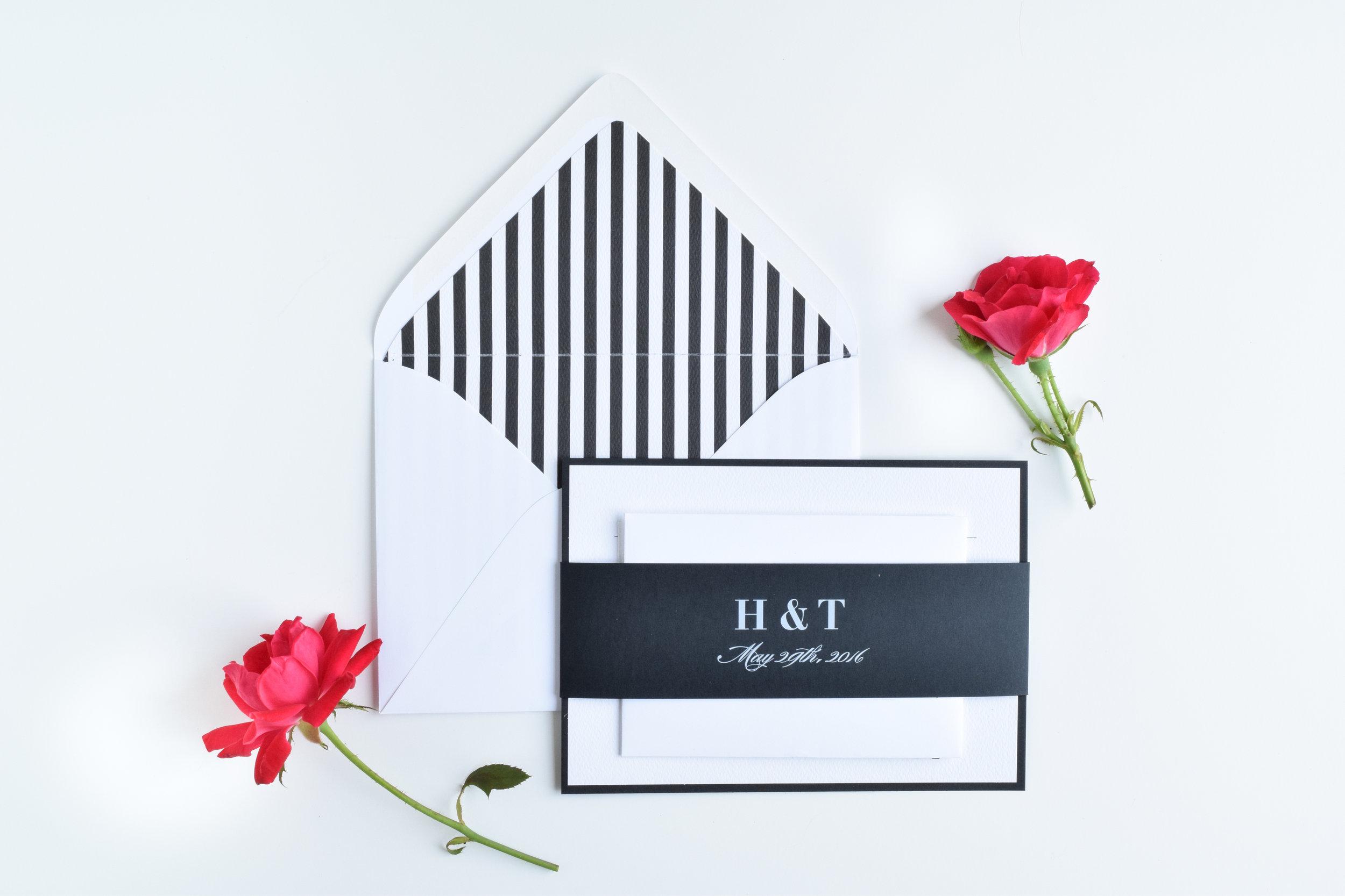 Modern Black and White Striped Wedding Invitations — AMG Design Co.
