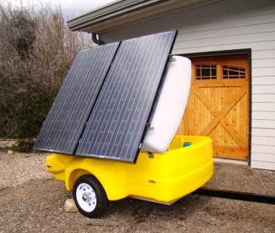 Sunny the Solar Roller. Sunny is the City of Aspen's portable solar PV system designed to power portions of local special events.  Photo credit: City of Aspen