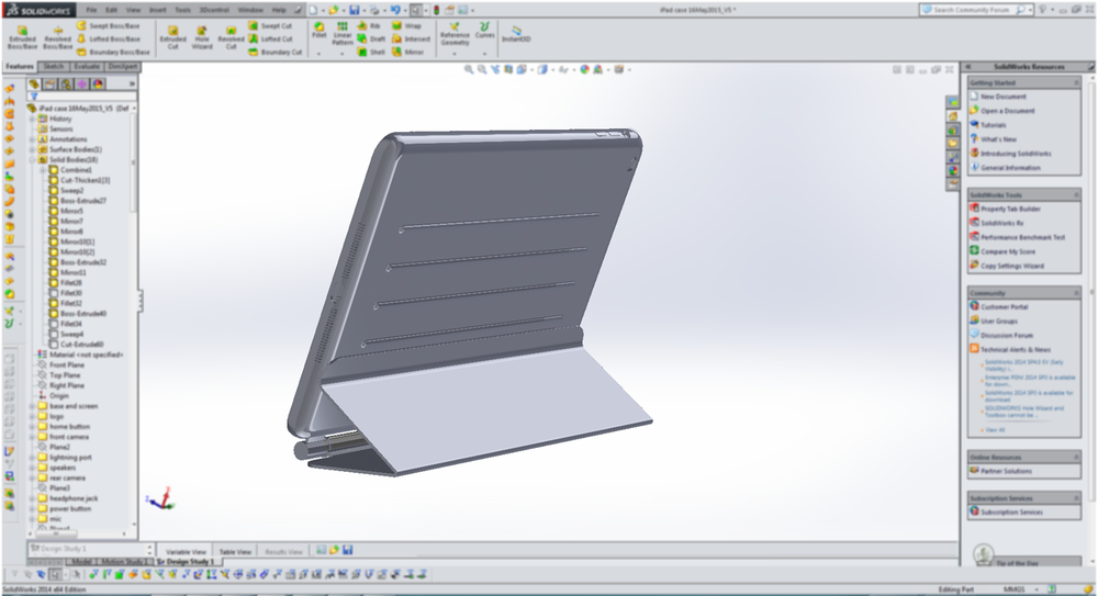 This is what designers see when working on finalizing a CAD model of Looop iPad Case.