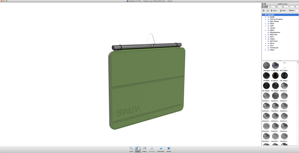 Finally, the Loop design team was able to use software to drag materials onto the CAD model and create a photo-realistic image of the Loop iPad Case. These computer-aided images allow for a visual study of color, materials, and finish early in the design process.