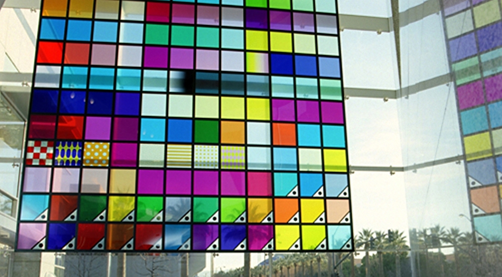 The 25' tall Illustrator color palette, scaled to 1700% its original size, is built as 9 separate frames bolted together.