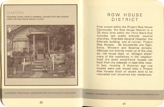 FieldWorks Field Guide, 2004, Project Row Houses, Karen Atkinson, Nancy Ganecheau, Jane Jenny. Page 21-22.