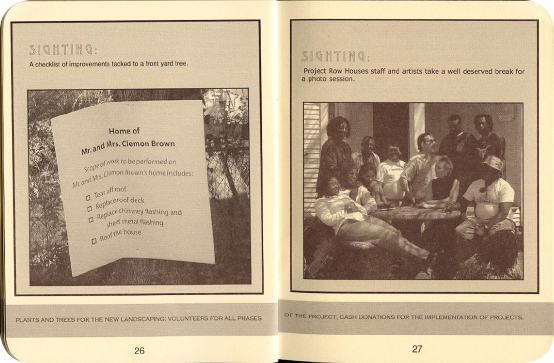 FieldWorks Field Guide, 2004, Project Row Houses, Karen Atkinson, Nancy Ganecheau, Jane Jenny. Page 27-28.