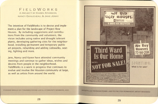 FieldWorks Field Guide, 2004, Project Row Houses, Karen Atkinson, Nancy Ganecheau, Jane Jenny. Page 29-30.