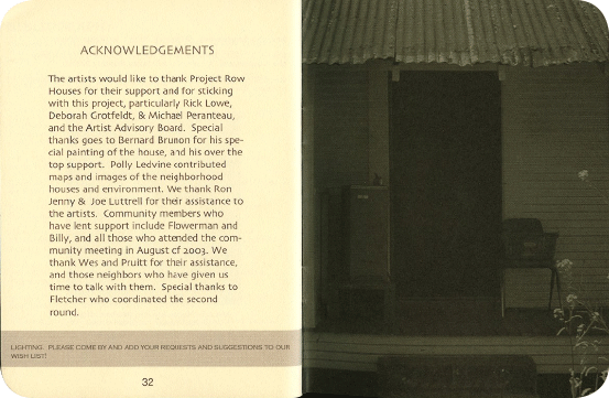 FieldWorks Field Guide, 2004, Project Row Houses, Karen Atkinson, Nancy Ganecheau, Jane Jenny. Page 33-34.