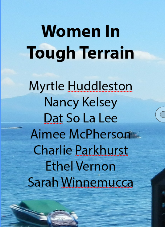 Cover Card for Women In Tough Terrain, Karen  Atkinson, 2013 for Detours: Kings Beach