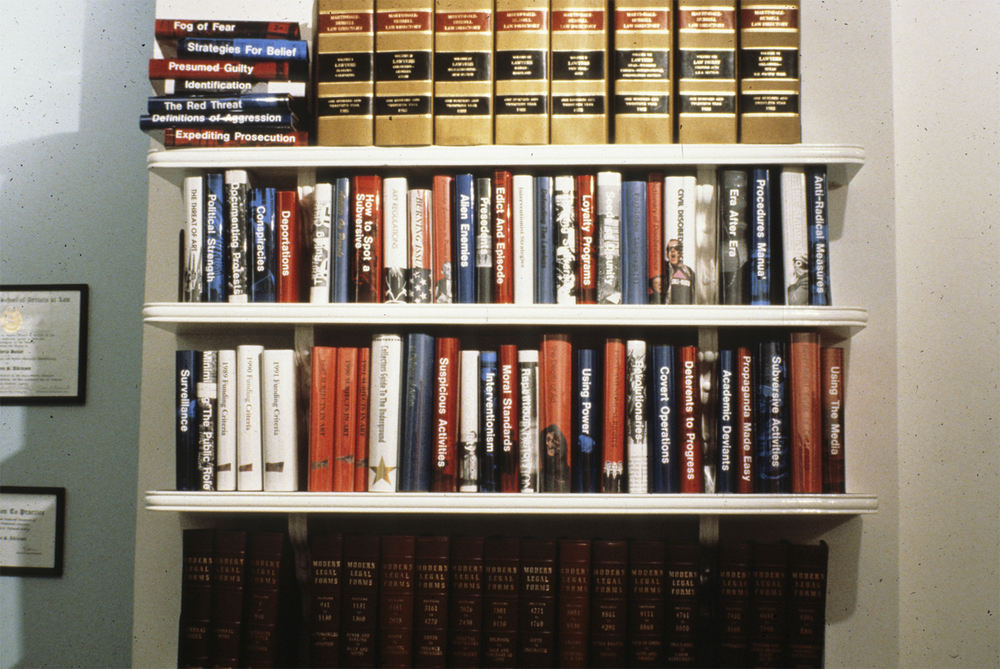 ART PROTECTION SERVICES: Karen Atkinson and Associates, ARTtorneys At Work. Law books were borrowed from a local attorney, and other book covers were made that a lawyers office involved in this kind of activities might have on their bookshelves. All in Red, White and Blue of course.