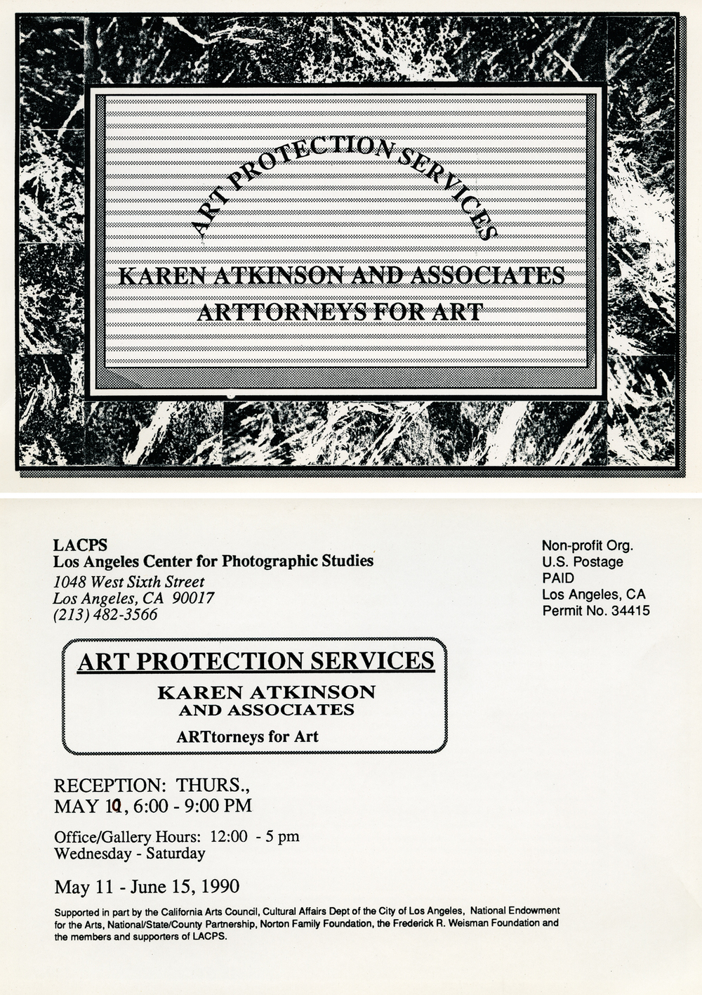 ART PROTECTION SERVICES: Karen Atkinson and Associates, ARTtorneys At Work. Exhibition Invite.