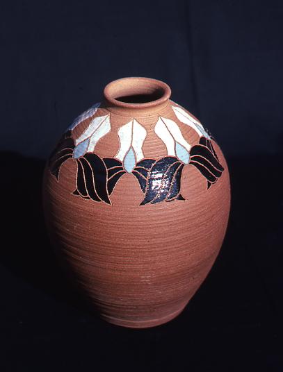 "Inlay Vase, Karen Atkinson, 13"" x 8' x 8"", Stoneware"