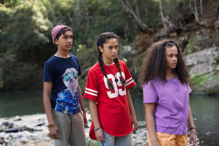 Fuzzy with her best friends, Tui and Yar', played by Tjiirdm McGuire, Mairehau Grace, Kyliric Masella, NITV Promotion Still. Photo supplied by Magpie Pictures/NITV/SBS, Production Stills by Julian Panetta.