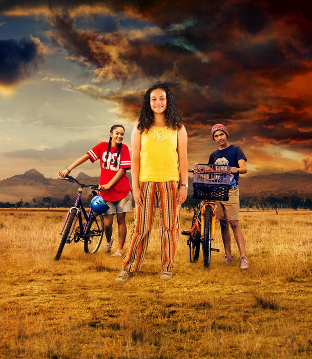 Mairehau Grace, Kyliric Masella and Tjiirdm McGuire, NITV Promotion Still.Photo supplied by Magpie Pictures/NITV/SBS,Production Stills by Julian Panetta.