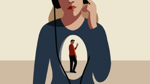 Art piece of a woman listening to music, with the image of a man in the centre of her chest waving good bye.   BetterBreakups.com