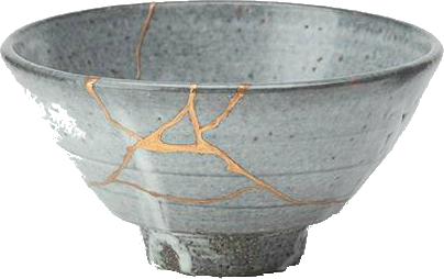 Beautiful image of a grey Kintsugi bowl.