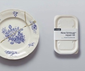 Photo of a Kintsugi repair kit and a broken plate.