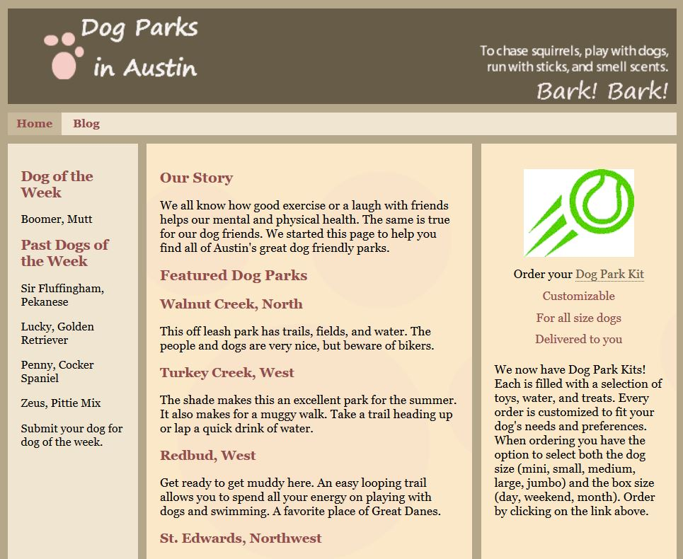 Dog Parks in Austin -- HTML and CSS