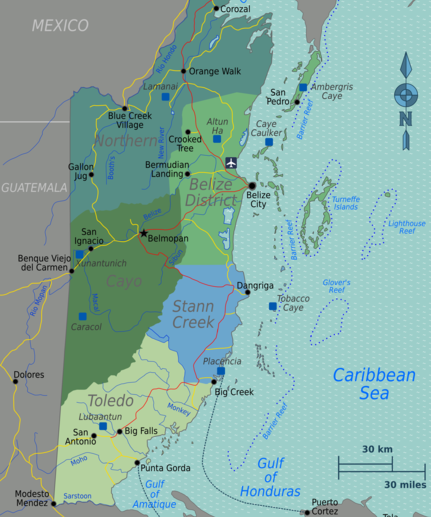 Source: Burmesedays. Belize regions map. Wikimedia Commons.
