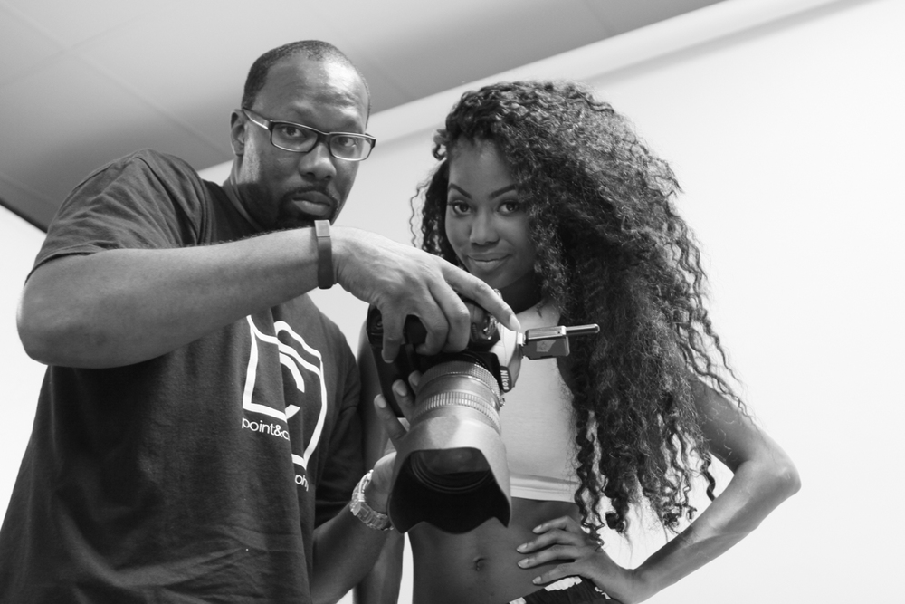 point and click photographer Adrian Body during his photo shoot with model Kay Ci Elle in houston tx