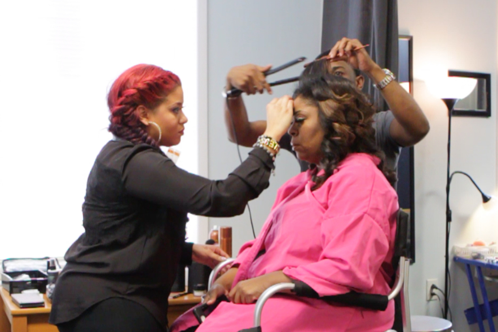behind the scenes in hair and makeup with gospel great Kim Burrell before her photo session.