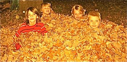 Dakota and Sebastian with their cousins in Kansas City, enjoying the fall leaves. Photo: Angela Lindvall.