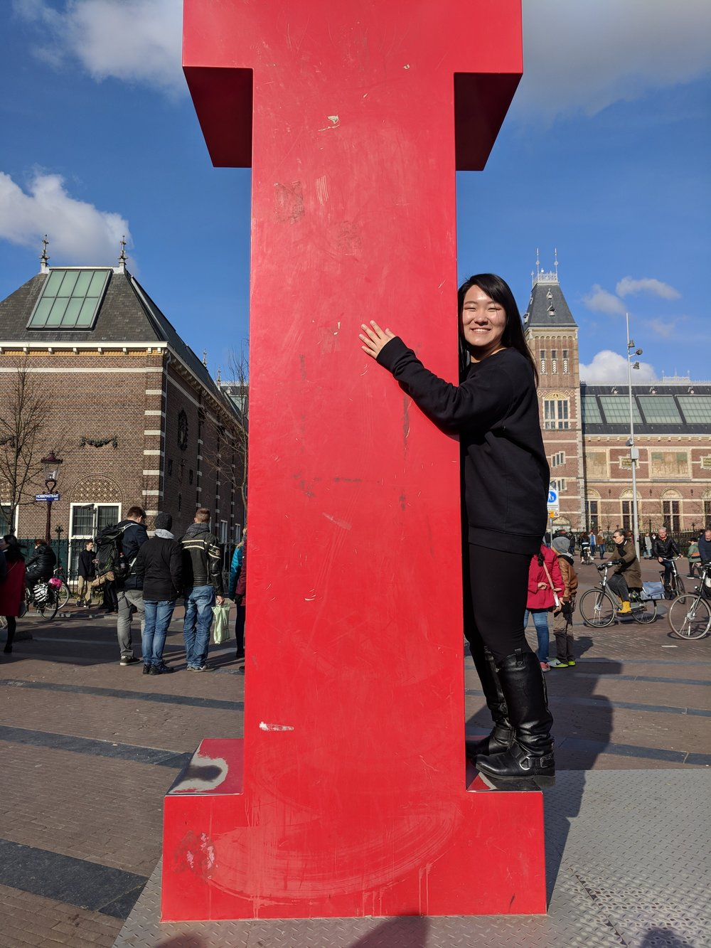 Hugging my new boyfriend in Amsterdam