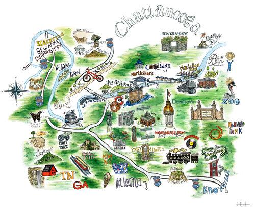 Chattanooga Map — HEH Designs: Freelance Illustrator & Stylist on