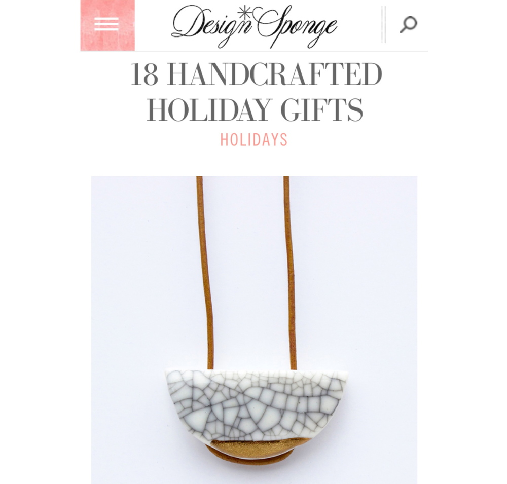 My Solar Ecylpse Necklace is featured in the Design Sponge Holiday Gift Guide.