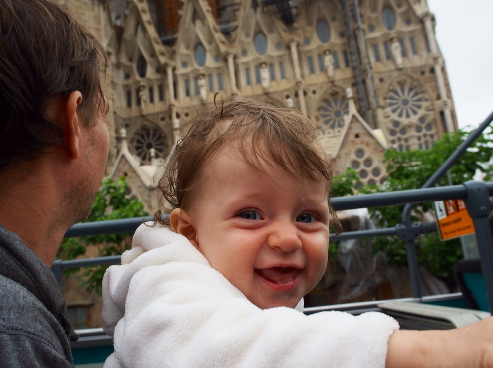 I don't have any pictures of pick pockets, so here is Matisse on the top of the bus passing La Sagrada Familia.