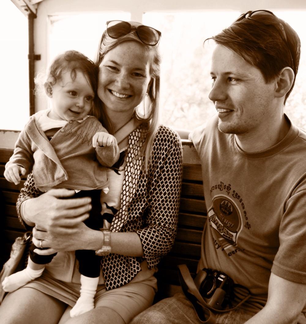 Bridget, Luke and Matisse in the fernicular.