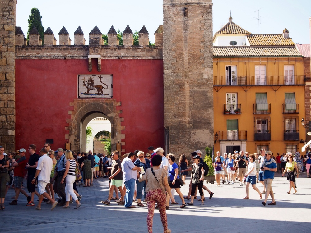 Lots of tourists in Seville