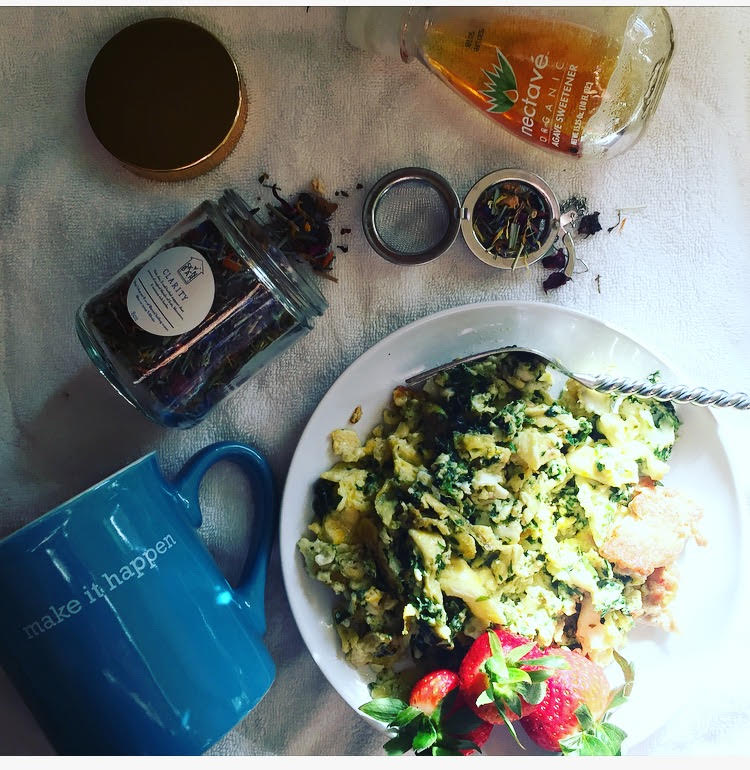 Breakfast of champs: Clarity Loose Leaf tea, Spinach & Eggs, Turkey Sausage, Fresh organic strawberries.