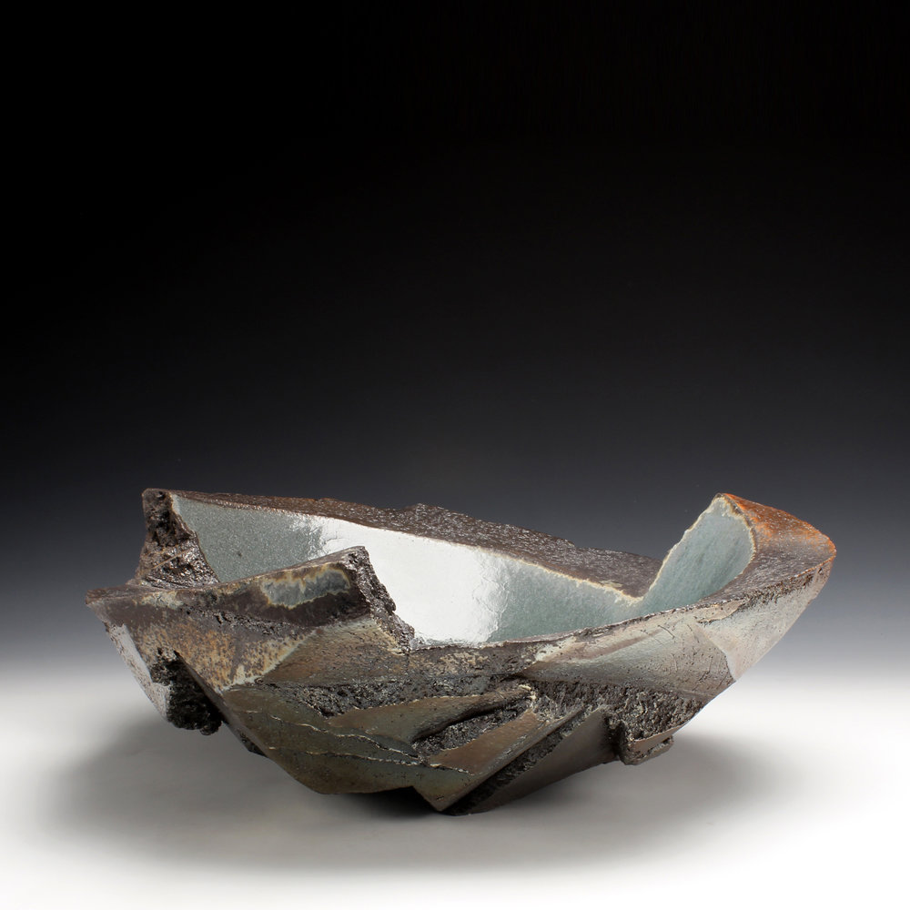 "Large Bowl  8"" x 17"" x 17""  Wood fired stoneware, glaze  2016"