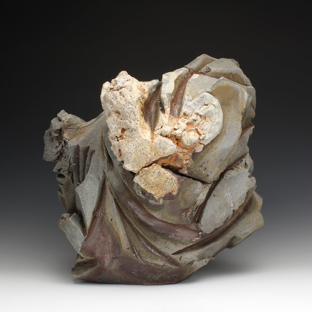 "Lidded Container  12"" x 14"" x 15""  Wood fired stoneware, porcelain, quartz  2014"