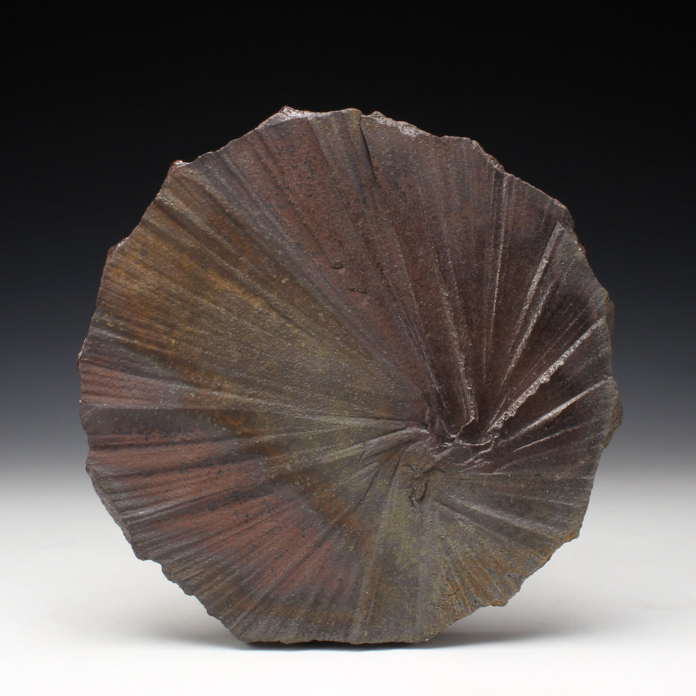 "Plate  1"" x 10"" x 10""  Wood fired stoneware  2016"
