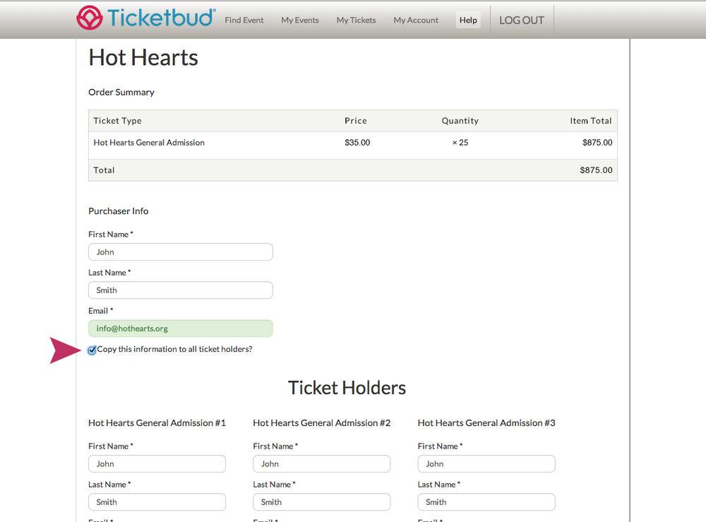 Ticketbud Purchase Information