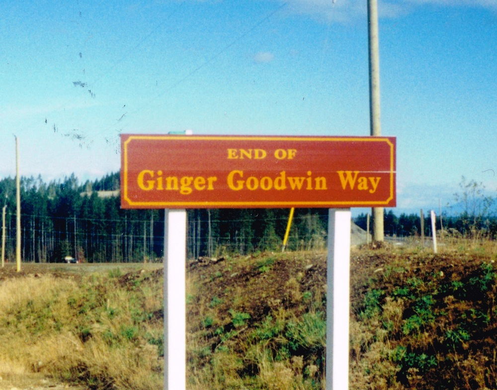 Ginger Goodwin Way sign in 1990s.