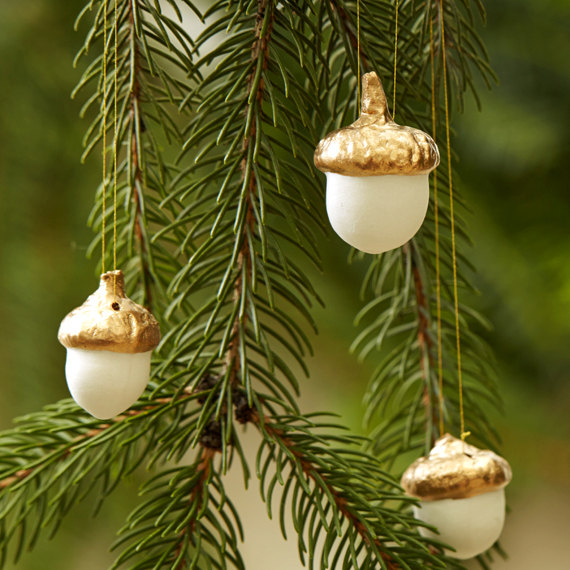 Porcelain and Gold Leaf Acorn Ornament: Set of 3 $24