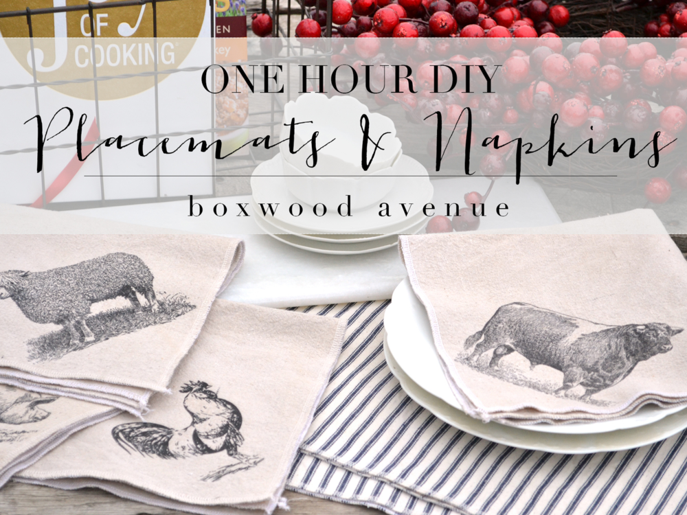 Boxwood Avenue | DIY 1 Hour Placemats and Napkins #farmkitchen #shabby