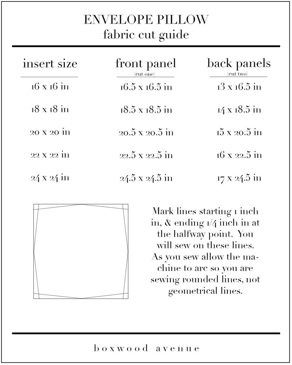 Boxwood Avenue's Envelope Pillow Cut Guide