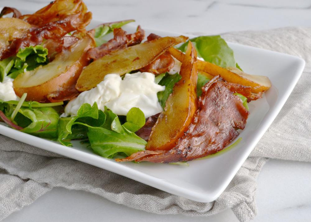 Prosciutto Burratta and Warm Pear Salad   Boxwood Avenue