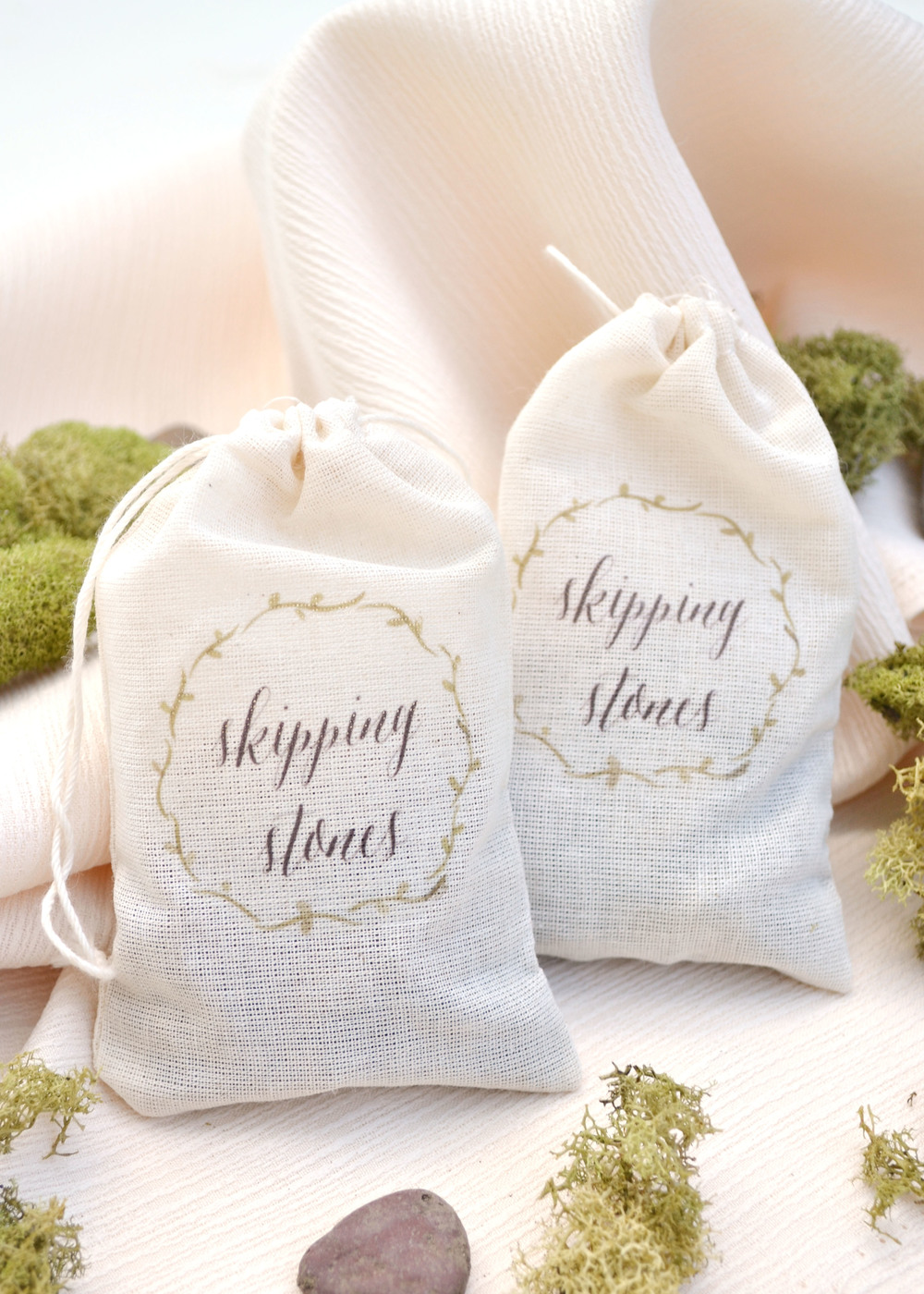 DIY Skipping Stone Favor Bags on Style Me Pretty — Boxwood Avenue