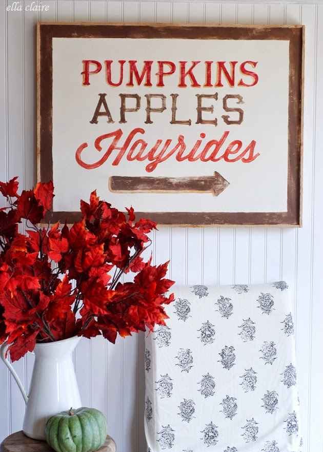 DIY Pumpkins Apples & Hayrides sign from Ella Claire Inspired
